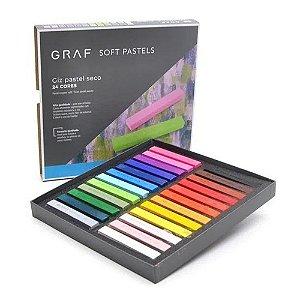 Giz Pastel Seco Graf Soft Pastels 24 Cores Diferentes Cis