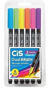 Caneta Dual Brush Pen Aquarelável Com 6 Cores Neon - Cis