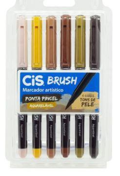 Caneta Pincel C/6 Cores Tons De Pele Brush Aquarelavel Cis