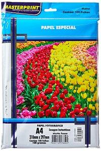 Masterprint Papel Fotográfico Inkjet A4 Matte 108g, Branco, 100 folhas