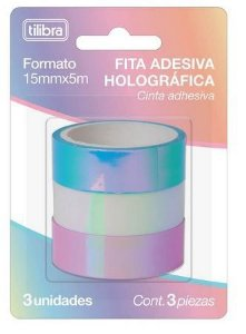 FITA ADESIVA HOLOGRÁFICA 15MMX5M - KIT COM 3 UNIDADES