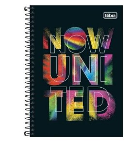 Caderno Universitário 1x1 CD 80 Folhas Now United 3 Tilibra