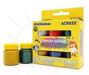 Tempera Guache Fantasia Glitter Acrilex - 6 cores