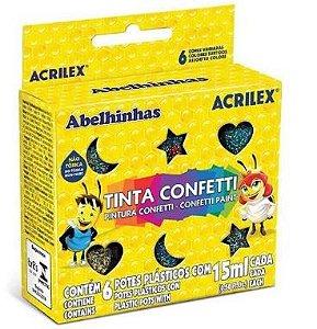 Tinta Confetti Acrilex 15ml 6 Cores Sortidas
