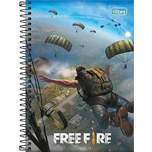 CADERNO ESPIRAL CAPA DURA 1/4 FREE FIRE 80 FOLHAS