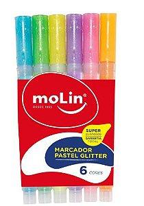 Marcador C/6 Fluor Glitter Bolsa - Molin