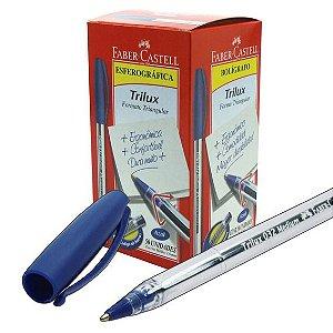Caneta Esf Trilux C/50 Media Azul - Faber Castell
