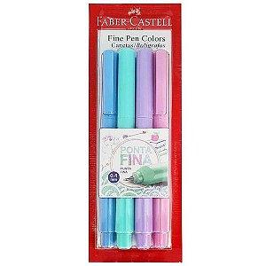 Caneta Fine Pen C/4 Cores Pastel - Faber Castell