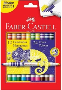 Caneta Hidrografica C/12 Bicolor - Faber Castell