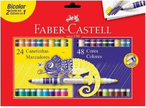 Caneta Hidrografica C/24 Bicolor - Faber Castell