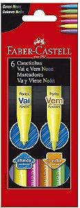 Canetinha C/6 Vai E Vem Neon Sortida-faber Castell