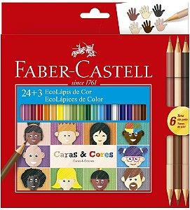Ecolapis Cor C/24 + 3 Caras & Cores - Faber Castel