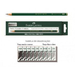 Lapis Grafite Castell 9000 8b C/12 - Faber Castell