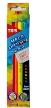 Lapis De Cor Mega Soft 6 Cores Neon - Tris