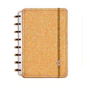 Caderno Inteligente Pequeno Glitter Bronze-caderno