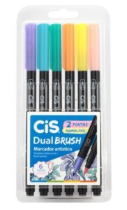 Estojo C/6 Marcador Dual Brush Aquarelavel - Cis