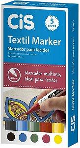 Estojo Marker 3,0mm C/5 Textil Sortido - Cis