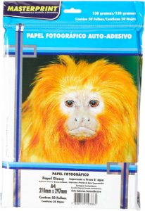 Papel Fotog A4 130g 50f Adesivo - Masterprint
