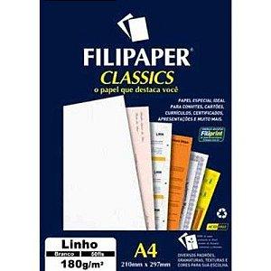 Papel A4 180g 50f Linho Branco - Filipaper