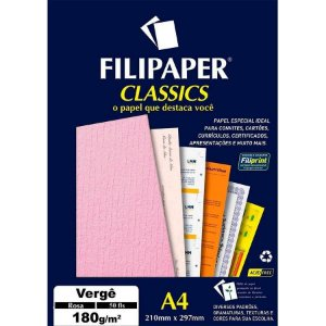 Papel Verge A4 180g 50f Rosa - Filipaper
