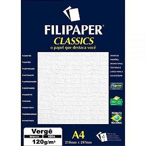 Papel Verge A4 120g 50f Branco - Filipaper