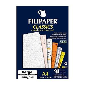 Papel Verge A4 180g 50f Branco - Filipaper