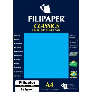 Papel A4 180g 50f Filicolor Azul - Filipaper