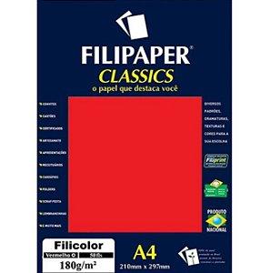 Papel A4 180g 50f Filicolor Vermelho - Filipaper