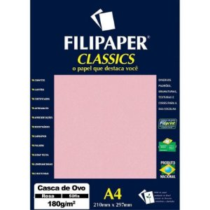 Papel A4 180g 50f Casca Ovo Rosa - Filipaper