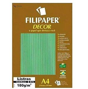 Papel A4 180g Decor Listras Vd/br 20fls -filipaper