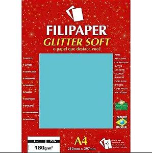 Papel A4 180g 15f Glitter Soft Azul - Filipaper
