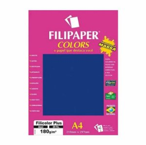 Papel A4 180g 20f Filicolor Plus Azul - Filipaper