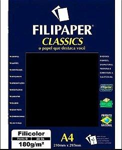 Papel Filicolor Plus A4 180mg 20f Preto -filipaper