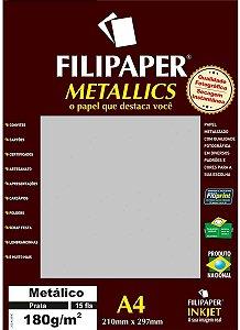 Papel A4 180g 15f Metalico Prata - Filipaper