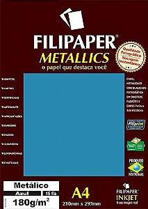 Papel A4 180g 15f Metalico Azul - Filipaper