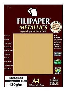 Papel A4 180g 15f Metalico Ouro - Filipaper