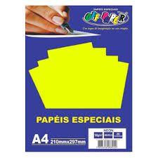 Papel A4 180g 20fls Neon Amarelo - Off Paper