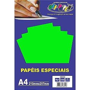 Papel A4 180g 20fls Neon Verde - Off Paper