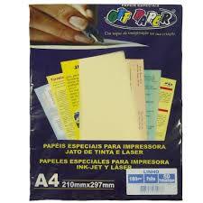 Papel Linho A4 180g 50f Palha - Offpaper