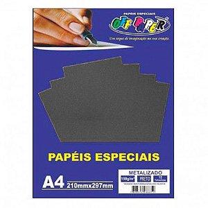 Papel A4 150g 15f Metalizado Preto - Off Paper
