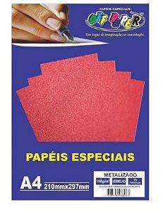 Papel A4 150g 15f Metalizado Vermelho - Off Paper