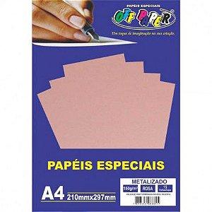 Papel A4 150g 15f Metalizado Rosa - Off Paper