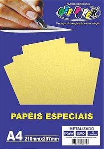 Papel A4 150g 15f Metalizado Ouro - Off Paper