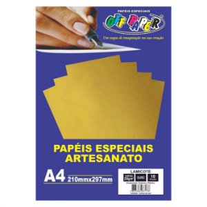 Papel Lamicote A4 250g 10f Ouro - Off Paper