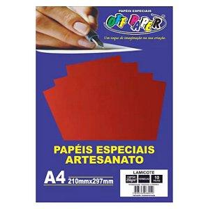 Papel Lamicote A4 250g 10f Vermelho - Off Paper