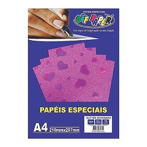 Papel A4 150g 10fls Glitter Dec Rosa Cor-off Paper