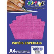 Papel A4 150g 10fls Glitter Dec Rosa Col-off Paper