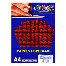 Papel A4 120g 10f Holografico Vermelho - Off Paper
