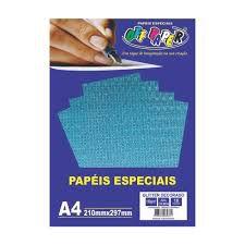 Papel A4 150g 10fls Glitter Dec Azul Col-off Paper