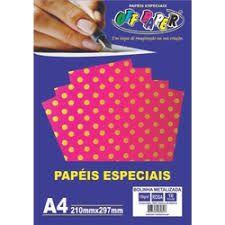 Papel A4 120g 10f Metalizado Poa Rosa - Offpaper
